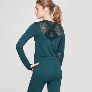 Joy Lab Tops - Joy Lab Seamless Mesh Long Sleeve Crop Top Green
